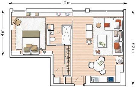 Un appartement deux pi ces enti rement d cor et for Salle a manger 7m2