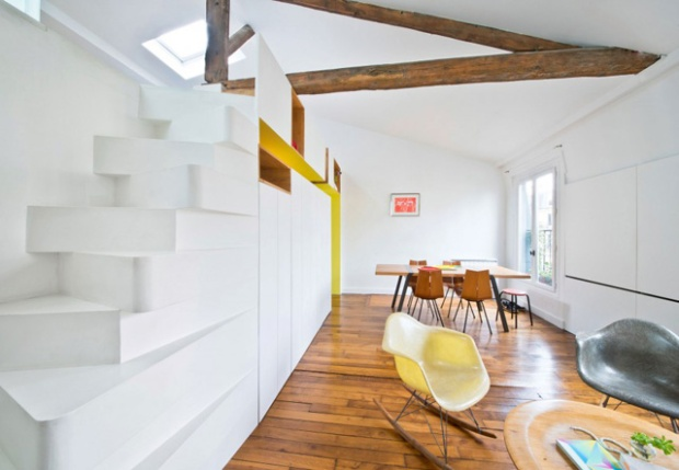 Aménagement intérieur par l'agence SABO Project dans un studio parisien.