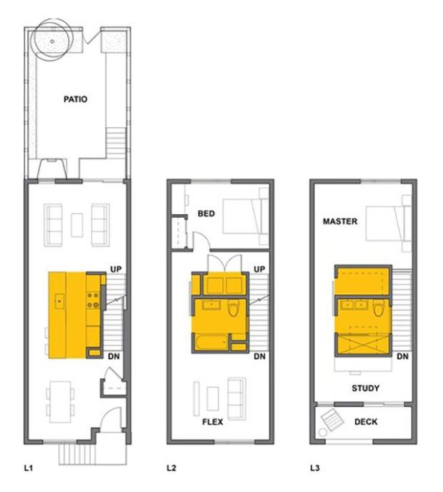 comment am nager une maison de ville tr s troite conseils d co. Black Bedroom Furniture Sets. Home Design Ideas