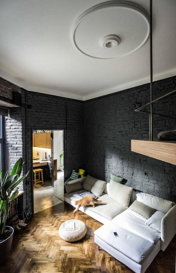 Un Superbe Mur De Briques Noir Et Beaucoup De Bonnes Idees Dans Cet Appartement De 35 M Conseils Deco